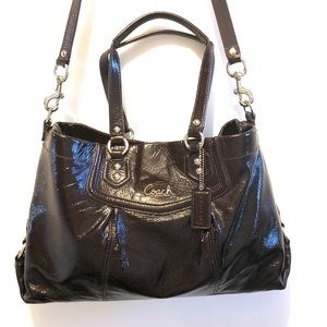 Coach Ashley Carry All Brown Patent Leather Bag